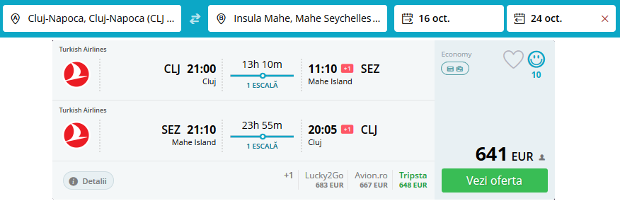 Zbor Cluj Seychelles Octombrie 2018