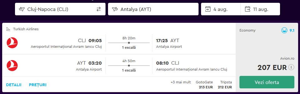 Zbor Cluj Antalya Turcia August 2018