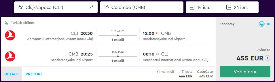 Zbor Cluj Colombo Iunie 2018