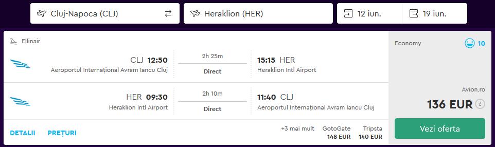 Zbor Cluj Heraklion Creta Iunie 2018