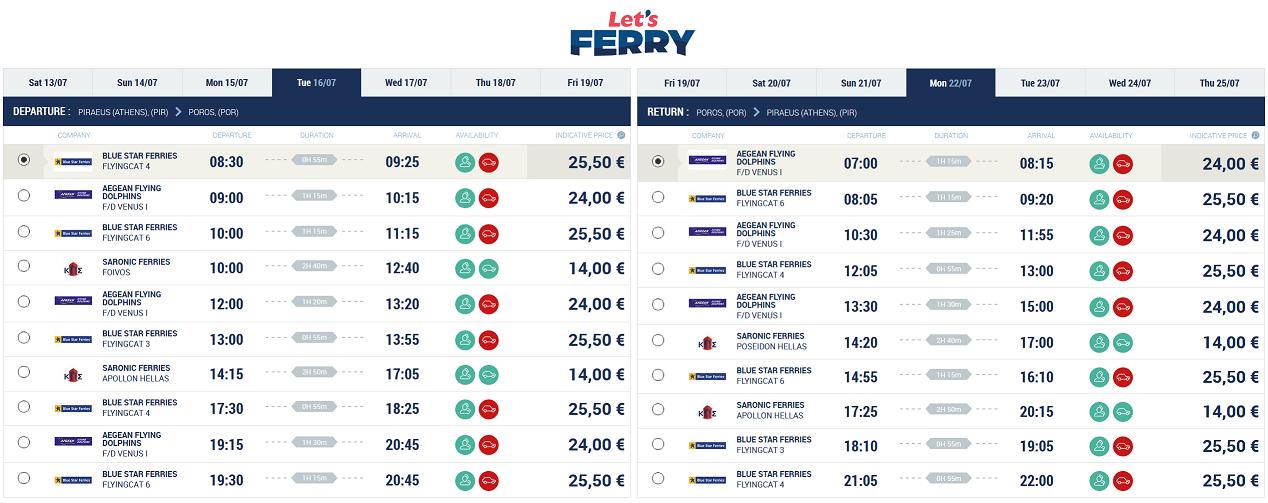 Ferry Piraeus (Atena) Poros Iulie 2019